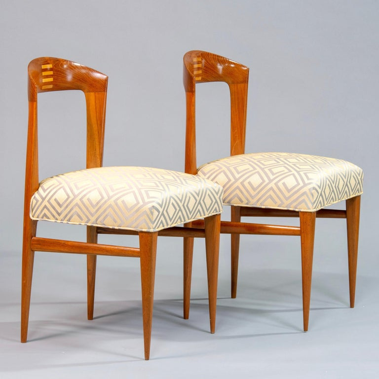 Set of Eight Art Deco Beech Chairs with New Upholstery For Sale 3