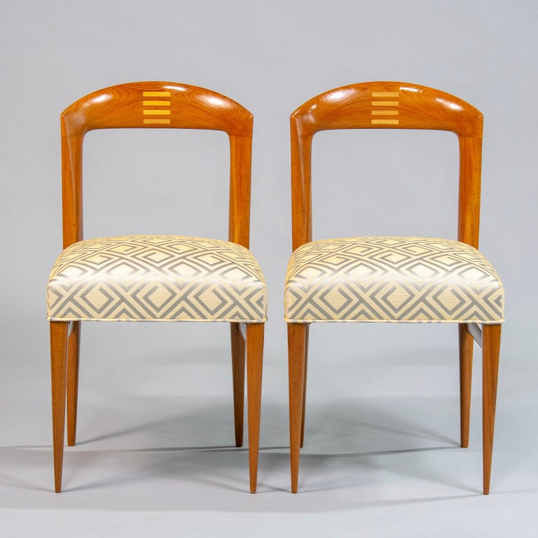 Set of Eight Art Deco Beech Chairs with New Upholstery For Sale 4