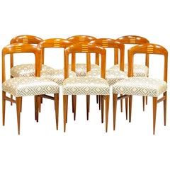 Set of Eight Art Deco Beech Chairs with New Upholstery