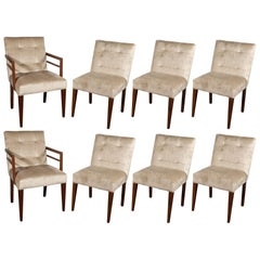 Set of Eight Art Deco Dining Chairs in Walnut & Champagne Velvet, Gilbert Rohde