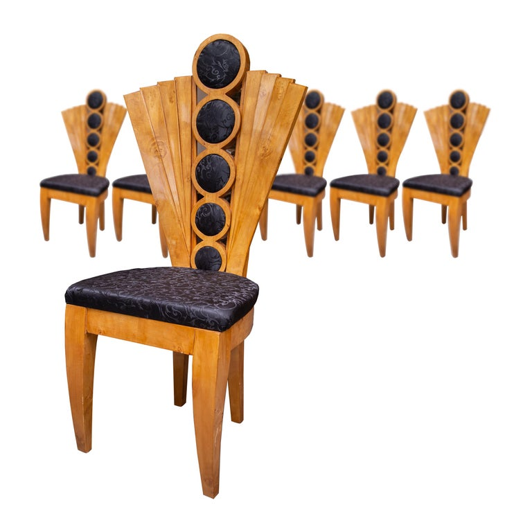 Set of Eight Art Deco Style Dining Chairs For Sale