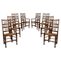 Set of Eight Ash Spindle Back Chairs