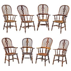 Set of Eight Assembled Regency Yewwood Windsor Armchairs