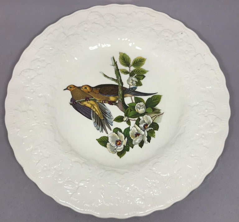 Creamware Set of Eight Audubon Bird Dinner Plates