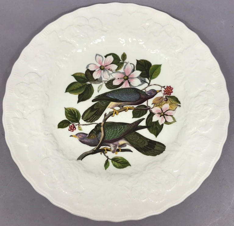 Ceramic Set of Eight Audubon Bird Luncheon Plates