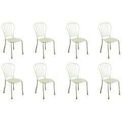Set of Eight Austrian Midcentury White Metal Stackable Garden Chairs