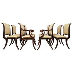 Set of Eight Baker Furniture Regency Dining Chairs with Klismos Legs