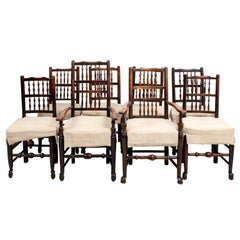 Set of Eight Banister Back Dining Chairs