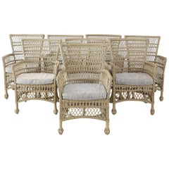 Set of Eight Bar Harbor Rattan Wicker Dining Armchairs