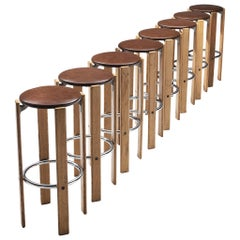 Set of Eight Bar Stools in Leatherette by Bruno Rey for Dietiker