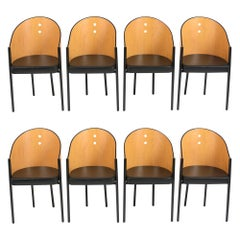 Set of Eight Barrel Dining Chairs, 1970s