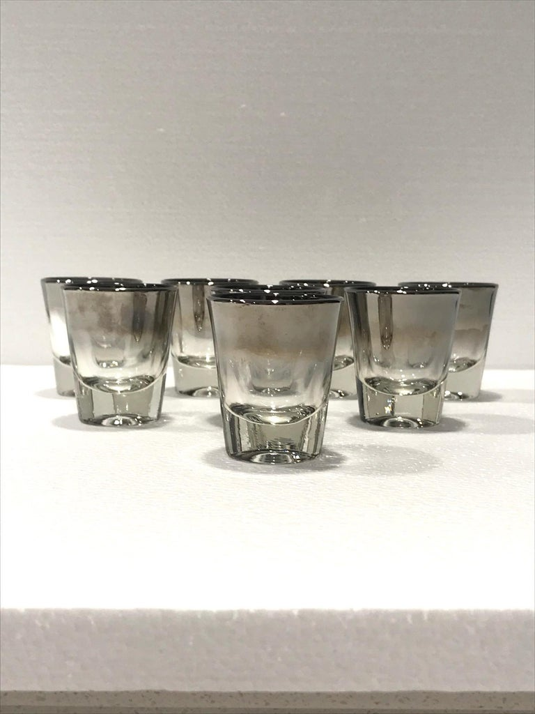 Mid-20th Century Set of Eight Barware Shot Glasses with Silver Overlay by Dorothy Thorpe, 1960s For Sale