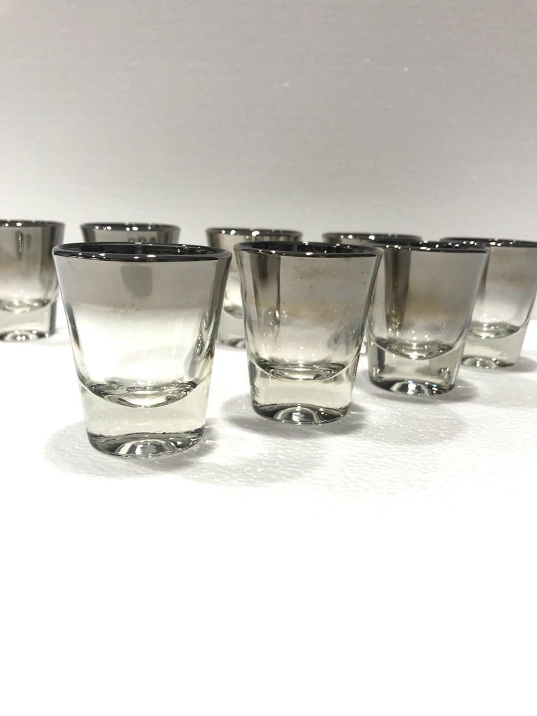 Set of Eight Barware Shot Glasses with Silver Overlay by Dorothy Thorpe, 1960s For Sale 1