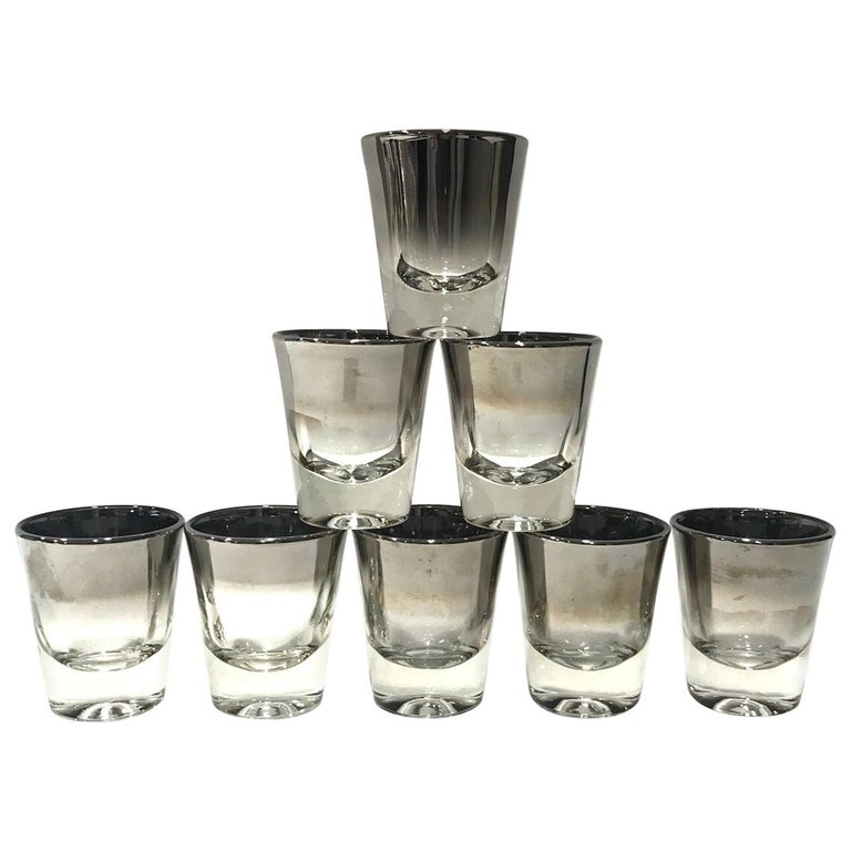 Set of Eight Barware Shot Glasses with Silver Overlay by Dorothy Thorpe, 1960s For Sale