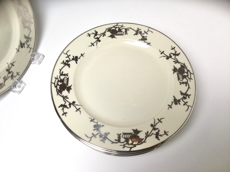 German Set of Eight Bavarian Chinoiserie Silver Overlay Service Dinner Plates For Sale