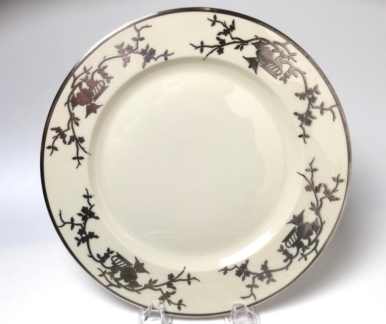 20th Century Set of Eight Bavarian Chinoiserie Silver Overlay Service Dinner Plates For Sale