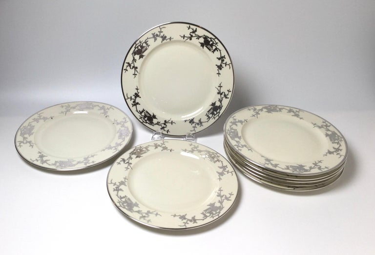 Porcelain Set of Eight Bavarian Chinoiserie Silver Overlay Service Dinner Plates For Sale