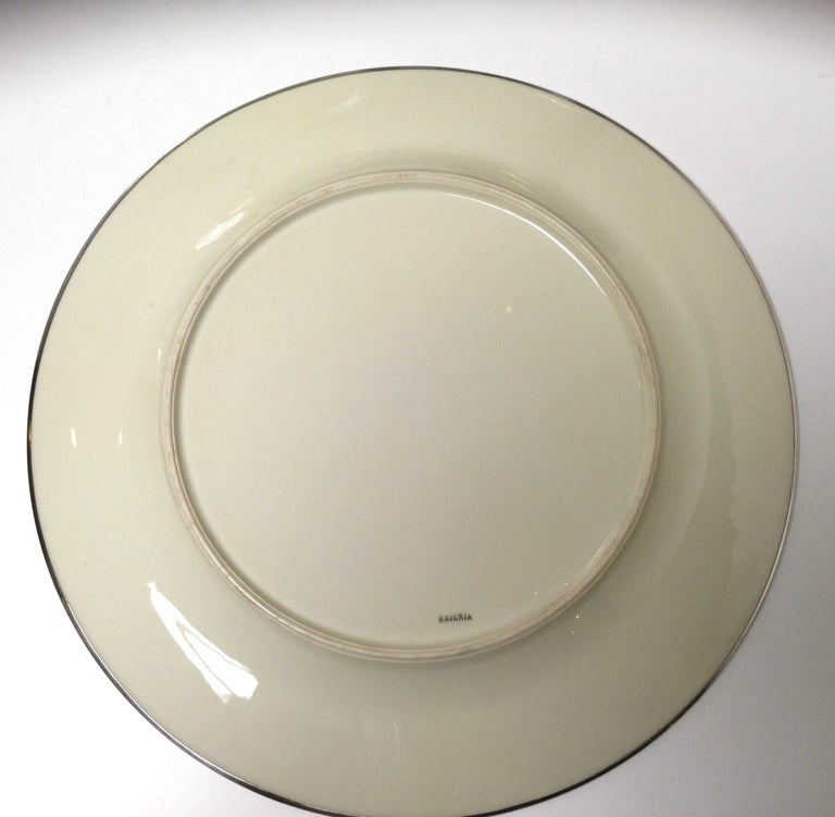 Set of Eight Bavarian Chinoiserie Silver Overlay Service Dinner Plates For Sale 1