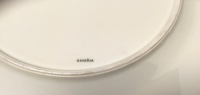 Set of Eight Bavarian Chinoiserie Silver Overlay Service Dinner Plates For Sale 2