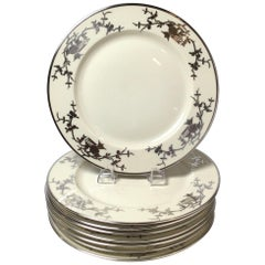 Set of Eight Bavarian Chinoiserie Silver Overlay Service Dinner Plates