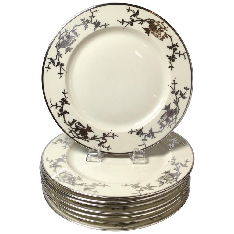 Set of Eight Bavarian Chinoiserie Silver Overlay Service Dinner Plates For Sale