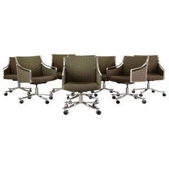 Set of Eight Bert England Midcentury Swivel Steel Armchairs