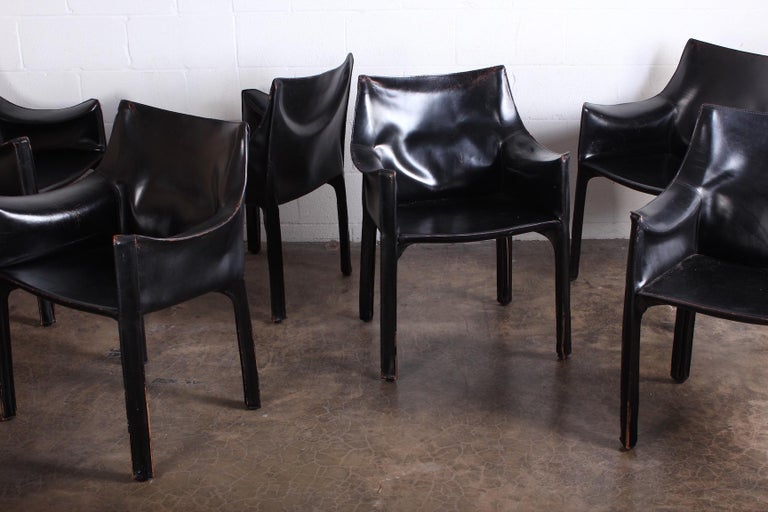 Set of Eight Black Cab Armchairs by Mario Bellini for Cassina For Sale 5