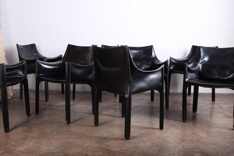 Set of Eight Black Cab Armchairs by Mario Bellini for Cassina For Sale 6