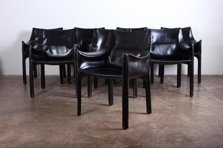 Set of Eight Black Cab Armchairs by Mario Bellini for Cassina In Fair Condition For Sale In Dallas, TX