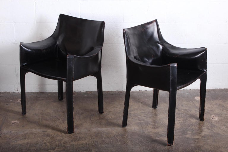 Late 20th Century Set of Eight Black Cab Armchairs by Mario Bellini for Cassina For Sale