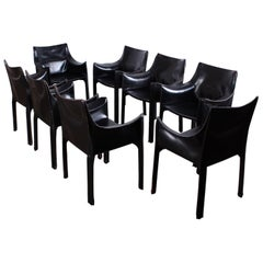 Set of Eight Black Cab Armchairs by Mario Bellini for Cassina
