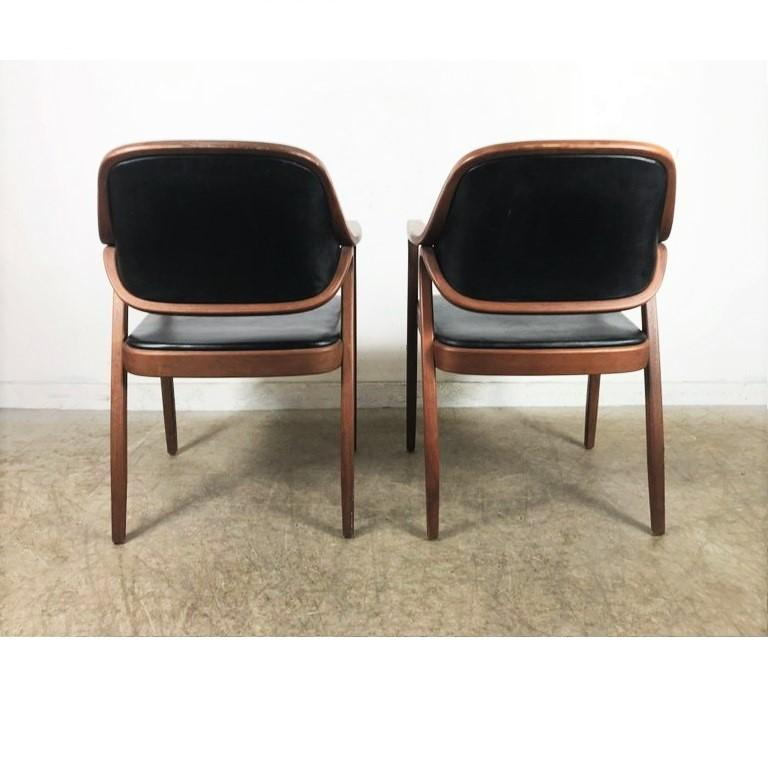 Mid-20th Century Set of Eight Black Don Petitt Bentwood Armchairs for Knoll For Sale