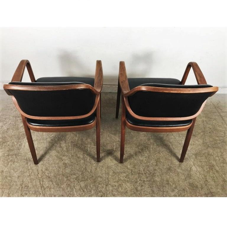 Wood Set of Eight Black Don Petitt Bentwood Armchairs for Knoll For Sale