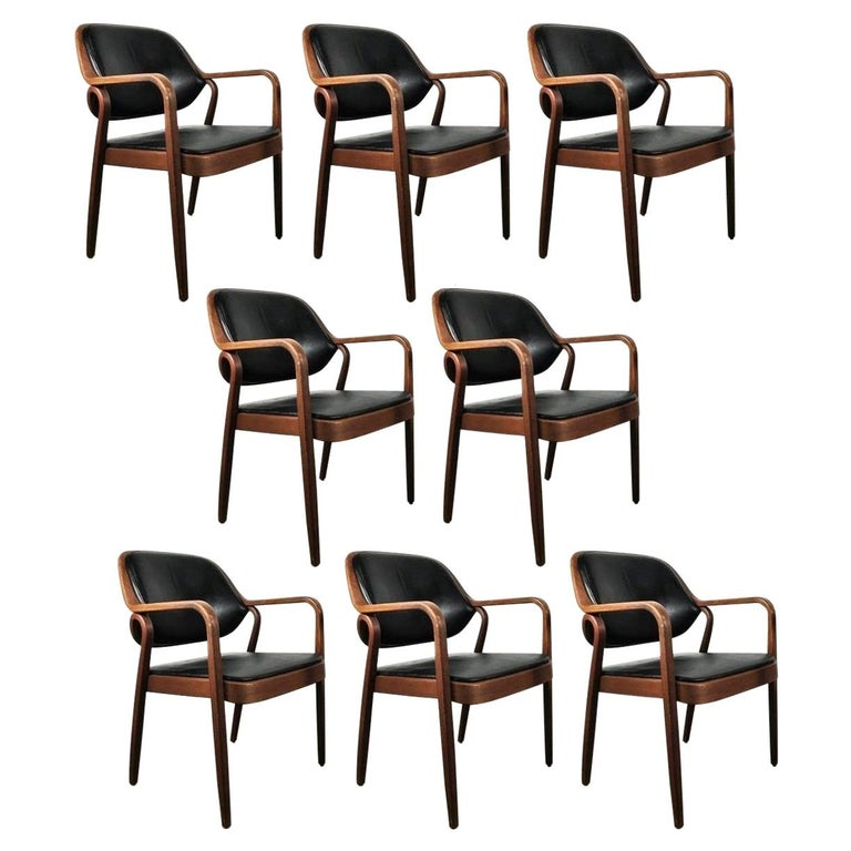 Set of Eight Black Don Petitt Bentwood Armchairs for Knoll For Sale