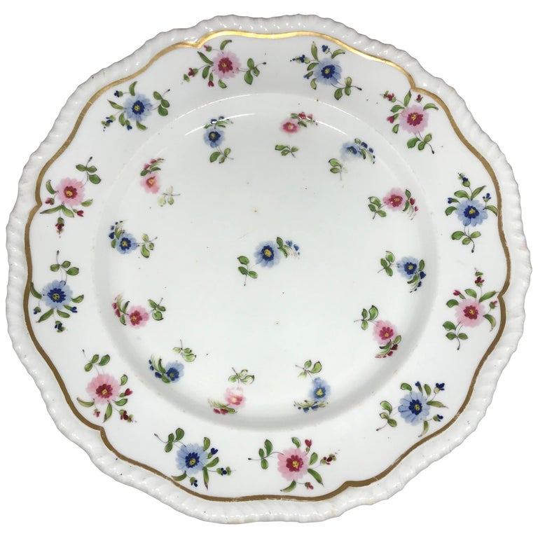 Set of Eight Blue and Pink Floral Plates For Sale