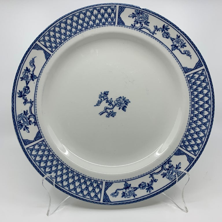 Set of Eight Blue and White Exeter Plates For Sale 4