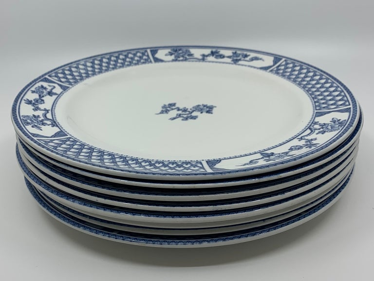 Set of Eight Blue and White Exeter Plates For Sale 5