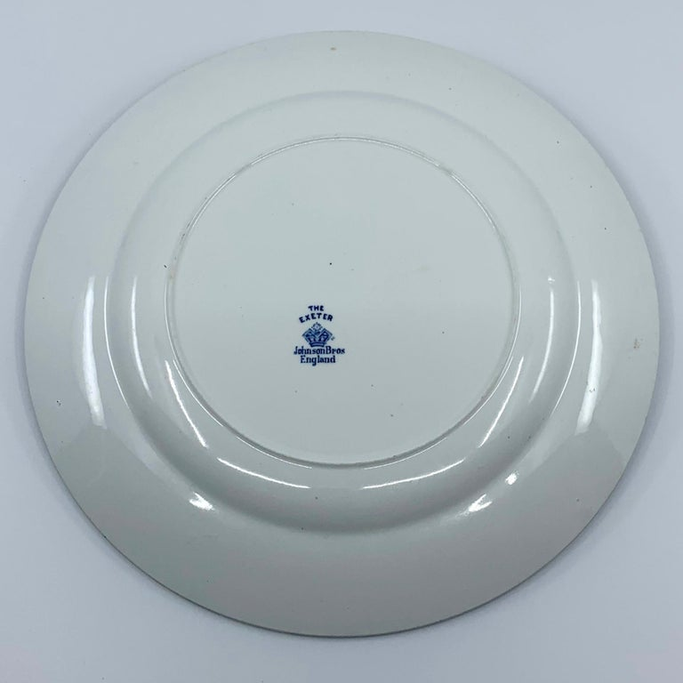 Set of Eight Blue and White Exeter Plates For Sale 6