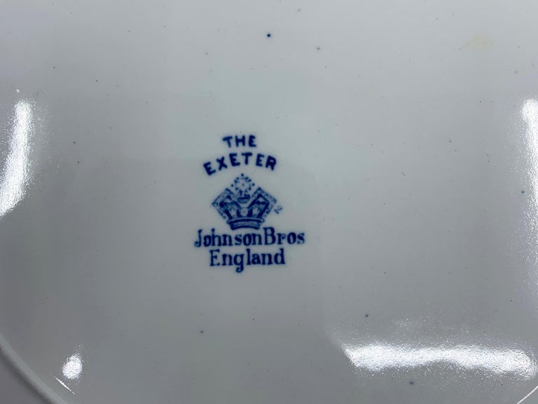 Set of Eight Blue and White Exeter Plates For Sale 7