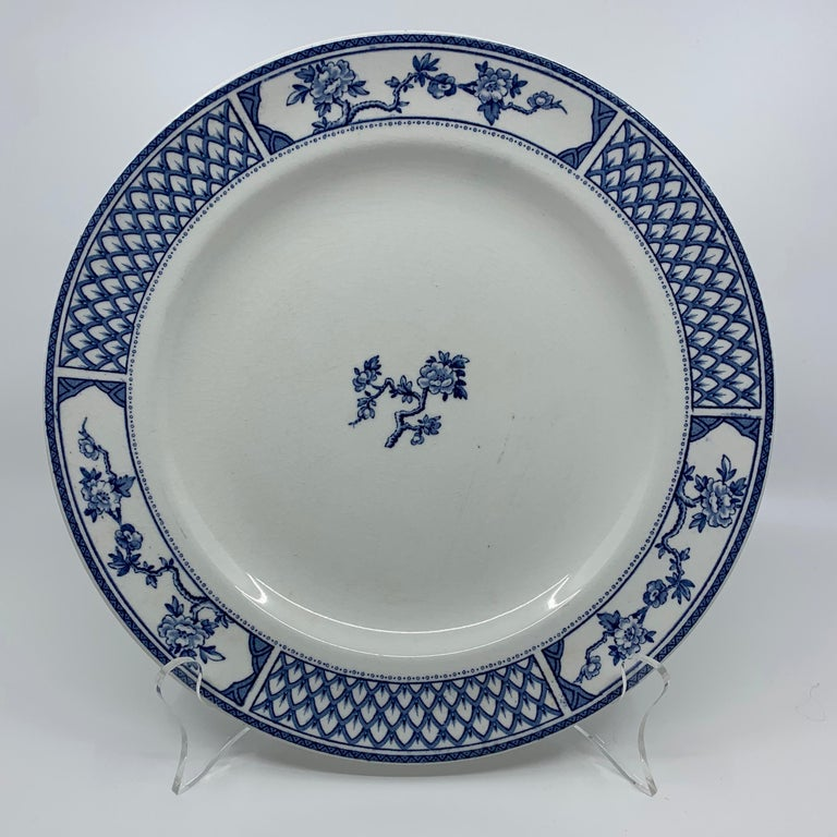 Ceramic Set of Eight Blue and White Exeter Plates For Sale