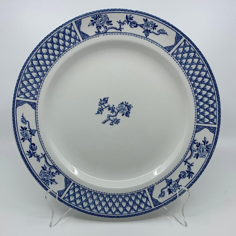 Set of Eight Blue and White Exeter Plates For Sale 1