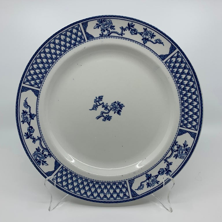 Set of Eight Blue and White Exeter Plates For Sale 2