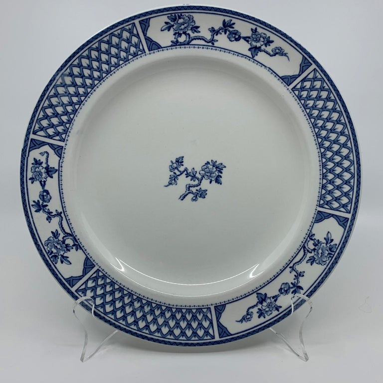Set of Eight Blue and White Exeter Plates For Sale 3