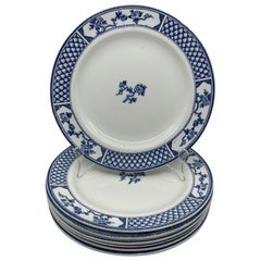 Set of Eight Blue and White English Plates