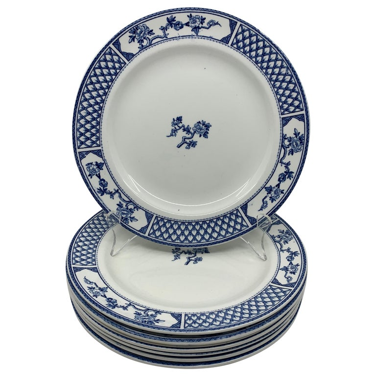 Set of Eight Blue and White Exeter Plates For Sale