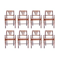 Set of Eight Bone Inlaid Dining Chairs from the Philippines