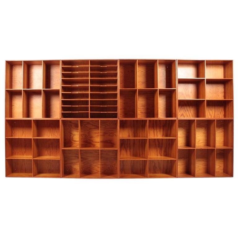 Set of Eight Bookcases in Pine by Mogens Koch, Danish Design, Midcentury, 1950s For Sale