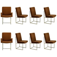 Set of Eight Brass Dining Chairs by Milo Baughman for Thayer Coggin, circa 1970