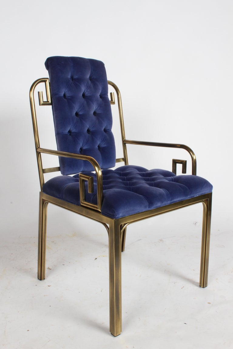 Set of Eight Brass Mastercraft Greek Key Hollywood Regency Dining Chairs For Sale 5