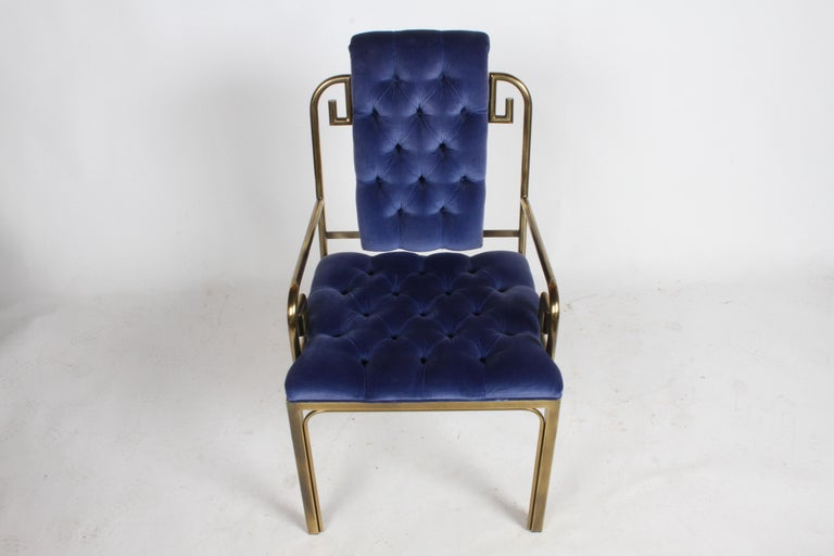 Mid-Century Modern Set of Eight Brass Mastercraft Greek Key Hollywood Regency Dining Chairs For Sale